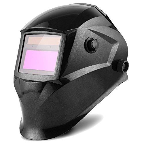 FIXKIT Schweißhelm, Automatik Schweißhelm mit Uv-Schutz: 16 Stufen, (Dunkelzustand: DIN 9-13 freie Einstellung), großem Sichtfeld(96 x 48mm), für alle Schweißanwendungen
