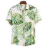 Camisa De Impresión De Moda para Hombres Camisas De Manga Corta De Playa Hawaiana para Hombres,Green,M