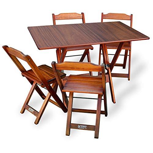 Jogo de Mesa 110X70 com 4 cadeiras (Imbuia)