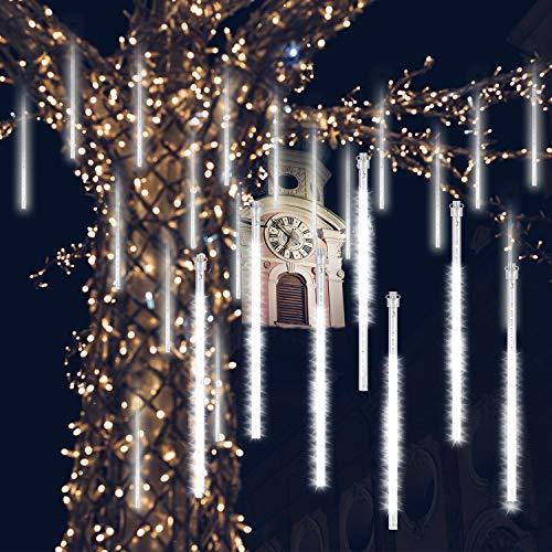 GPODER Doccia Pioggia Luci 30CM, 8 Impermeabile Tubo Luci della Pioggia di Meteore, 288 LEDs Waterfall Light per Natale/Esterno/Albero/Casa/Giardino/All'Aperto Decorazione(Bianco)