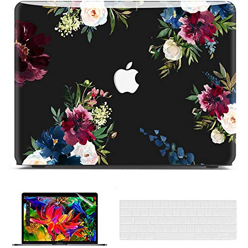 Belk MacBook Pro 13 inch Case M1 2021 2020 2019 2018 2017 Release,3D Smooth Scratch Resistant Hard Shell Cover + Keyboard Cover + Screen Protector, MacBook Pro 2021 Case, flower