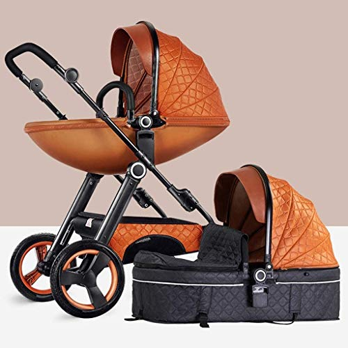 YZPTD High View Pram Stroller,Eggshell Stroller Foldable, Compact Convertible Pushchair Strollers Storage Basket, Large Seat Area (Color : C)