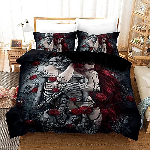 Bedclothes-Blanket Funda nórdica Funda de Colcha,Cubierta 3D 骷髅 Ropa de Cama Digital de Tres Piezas-4_173 * 218
