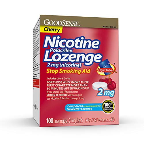 Good Sense Nicotine Polacrilex Lozenge, 2 Mg (Nicotine), Stop Smoking Aid, Cherry Flavor, 108 Count