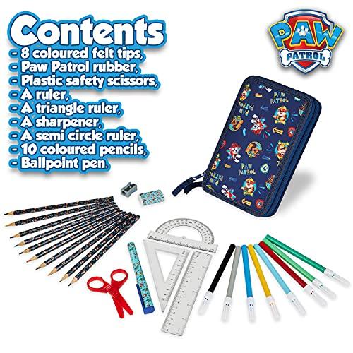 Paw Patrol Estuche Escolar, Material Escolar de la Patrulla Canina, Estuche Colores Con 2 Compartimentos