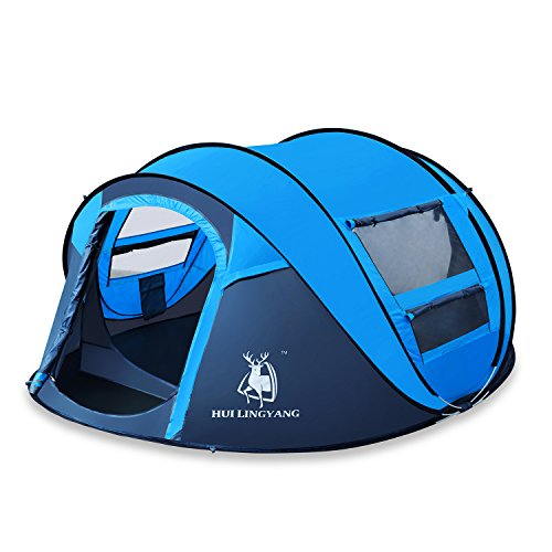 HUI LINGYANG Outdoor Instant 4-Person Pop Up Dome Tent - Easy, Automatic Setup -Ideal Shelter for Casual Family Camping Hiking,...