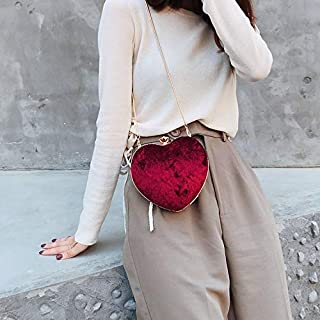 Fashion Single-Shoulder Bags Heart Shaped Chain Single Shoulder Bag Ladies Handbag Messenger Bag (Color:Red Size:PU) (Color : Red, Material : Velvet)