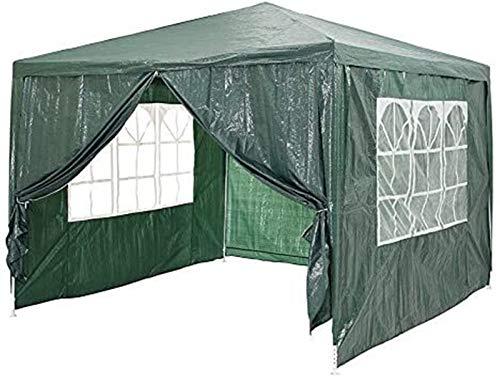 Plztou Verde Mirador al Aire Libre Lluvia Resistente jardín Sombrilla Sombra Tienda Toldo Cubierta Exterior for Trabajo Pesado al Aire Libre Carpa Shed (3x3m)