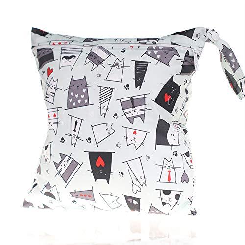 Lot de 2 sacs à langer pour bébé Imperméables et secs Imprimé Poche Sac à langer Simple couche avec fermeture Éclair