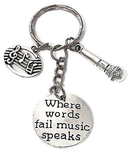 Microphone Keychian, Music Keychain, Musical Note Keychain, Musical Instrument Keychain, Microphone Key Ring, Music Key Ring, Music Microphone Voice Charm Keychain