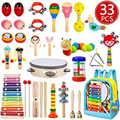 Ultimate Rhythm Instrument Set - 33 pcs 20 different kinds of musical toys, including shaking, tapping, beating and blowing instruments. Ideal and creative birthday present or Christmas gifts for kids, boys and girls. Non-Toxic and Premium Material -...