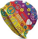 Whecom Strickmützen, Heart Peace Symbol Flower Power Political Hippie Cheerful Colors Festival...