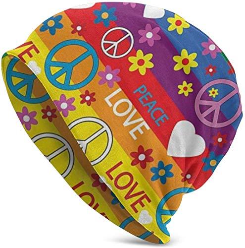 Whecom Strickmützen, Heart Peace Symbol Flower Power Political Hippie Cheerful Colors Festival Joyful Valentine 2019 New Adult Knit Beanie Warm Knit Ski Skull Cap Beanie Mütze für Damen und Herren