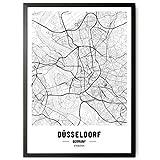 JUNOMI® Düsseldorf Poster XL Schwarz Weiss, DIN A2