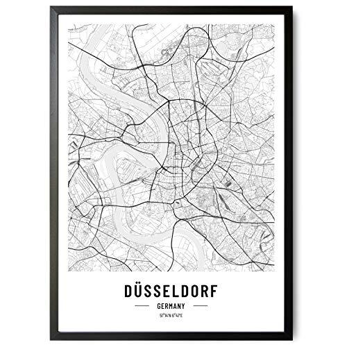 JUNOMI® Póster XL de Düsseldorf, en blanco y negro, DIN A2, decoración moderna para el salón, imagen de Düsseldorf, cuadro sin marco, póster de la ciudad de Düsseldorf, idea de regalo perfecta