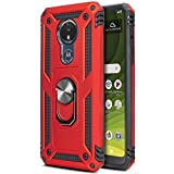 CasemartUSA Phone Case for [Motorola Moto G7 Optimo Maxx (XT1955DL)], [Loop Series][Red] Rotating Metal Ring Cover with Kickstand for Moto G7 Optimo Maxx (Tracfone, Straight Talk, Total Wireless)