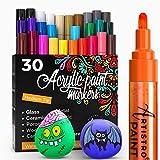 ARTISTRO rotuladores de pintura acrílica bolígrafos acrílicos - 30 colores - 2mm rotuladores acrílicos punta gorda para piedras, metal, madera, vidrio, taza de bricolaje - Acrylic Paint Pens