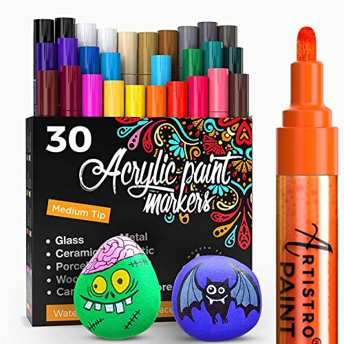 Acrylic Paint Markers Pens – 30 Acrylic Paint Pens Medium Tip (2mm) - Great...
