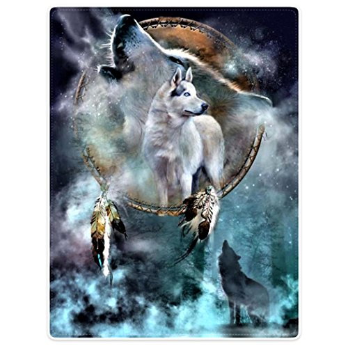 HommomH Wall Art Home Decor Tapestry 50' x 60' Wall Hanging Dreamcatcher Cool Wolf Howling Moon Animal