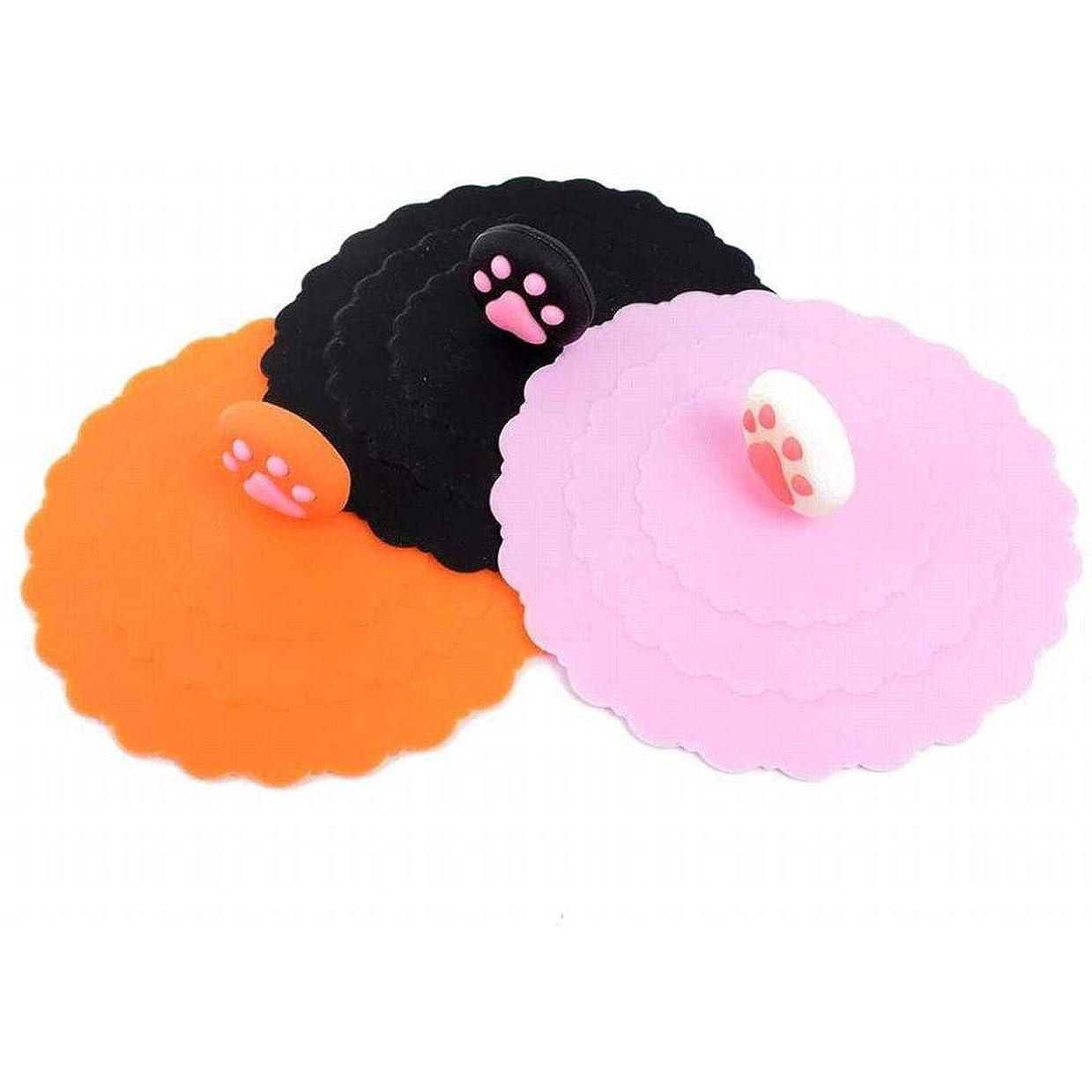 プラグからサイト3個 セットブラック ピンク オレンジキッチン コップ カップ シリコン 蓋 トかわいい アニマル 肉球 マグカップ カバー