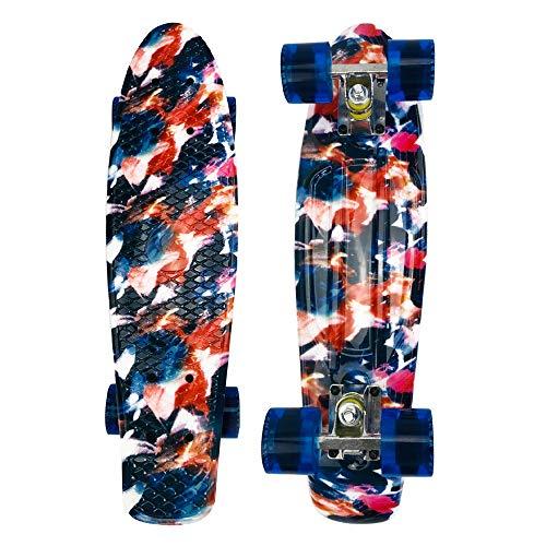 JMFHCD 22 Pulgadas Skateboard para Principiantes Adultos y Niños, Mini Cruiser Retro Skateboard con All in One Skate, Ruedas PU Actividades al Aire Libre,Camuflaje