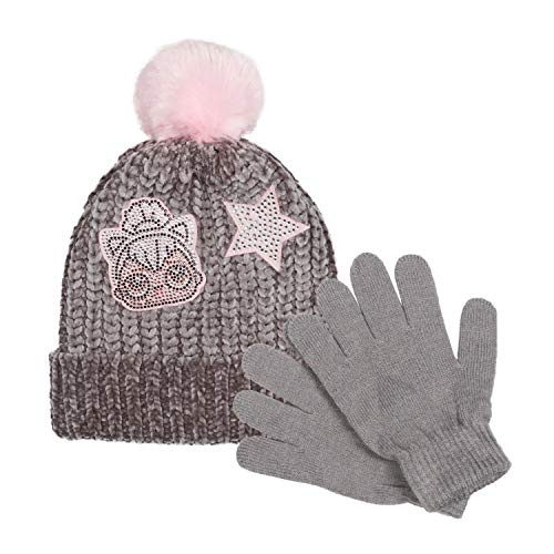LOL Surprise Soft Chenille Winter Hat & Gloves Set for Girls with Pompom and LOL Doll Patches