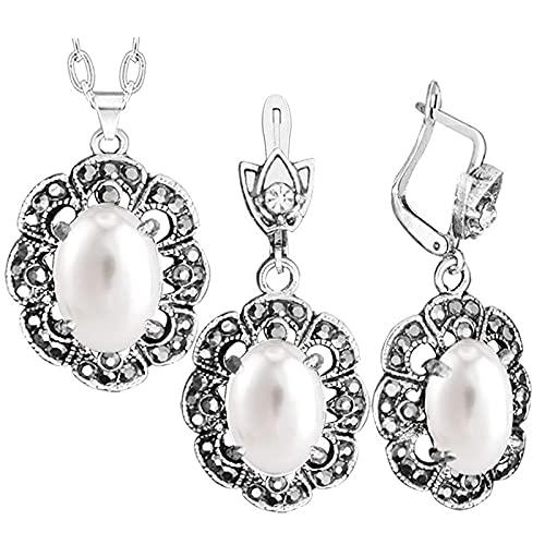 HMANE Flor Colgante de Diamantes de imitación Collar de Perlas ovaladas Pendientes Conjunto de Joyas joyería de Moda chapada en Plata Antigua
