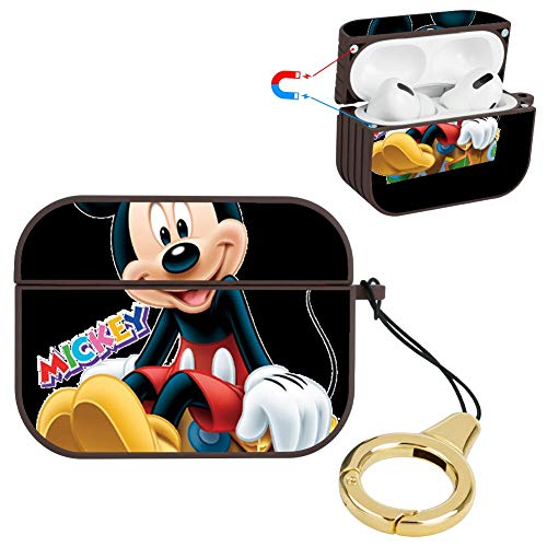 DISNEY COLLECTION Carcasa rígida de plástico resistente a los golpes con llavero compatible con AirPods Pro, color marrón
