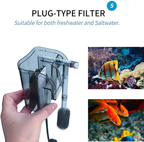 boxtech Aquarium Hang On Filter - Power Waterfall Suspension Oxygen Pump - Submersible Hanging Activated Carbon Biochemical Wall Mounted Fish Tank Filtration Water (5-10 Gal)