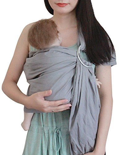 Vlokup Baby Sling Ring Sling Carrier Wrap - Extra Soft Lightweight Cotton Baby Slings for Infant, Toddler, Newborn and Kids - Great Shower Gift, Lightly Padded, Adjustable - Nursing Cover Light Grey