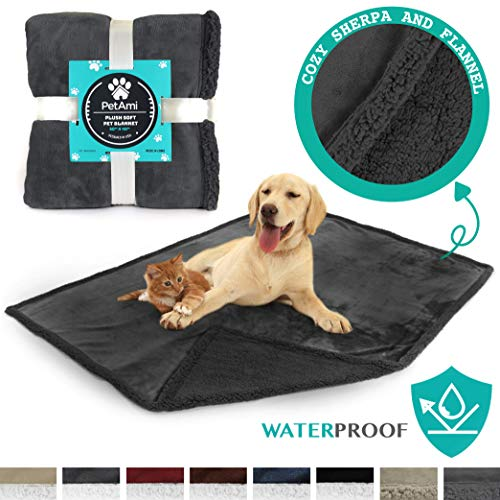 PetAmi Waterproof Dog Blanket for Couch, Sofa | Grey Waterproof Sherpa Pet Blanket for Large Dogs,...