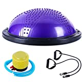 ZIRAN Hémisphère Balance Fitness avec Bande de Tension et Massage Gonflable Yoga Demi-Boule Yoga Ball-PVC