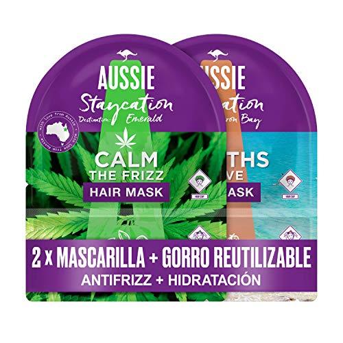 Aussie Pack Mascarilla Capilar + Gorro De Ducha Reutilizable, Mascarilla Paraiso de Hidratación, Mascarilla Doma el Encrespamiento