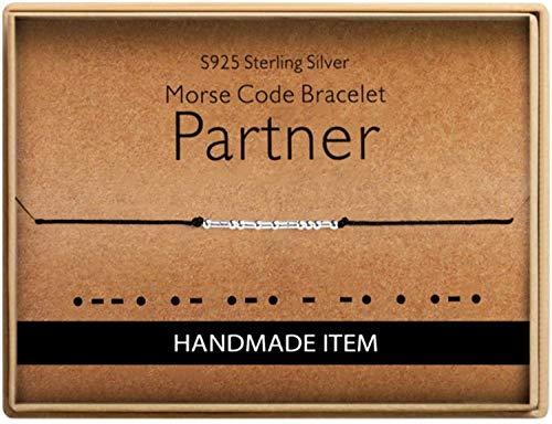 Birthday Gifts for Friends Morse Code Partner Bracelet 925 Sterling Silver Handmade Bead Adjustable String Bracelets Inspirational Jewelry for Women