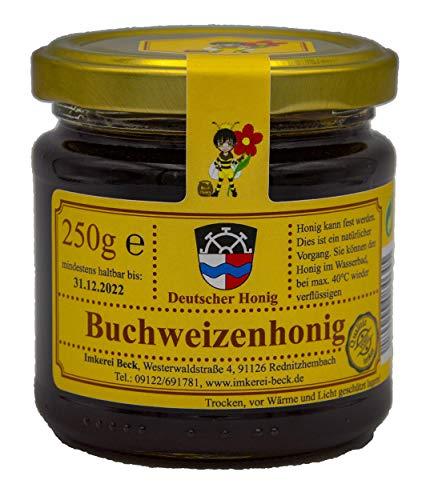 Echter Deutscher Imkerhonig - 250g dunkler, fast schwarzer, kräftig würziger Buchweizenhonig vom Imker aus Bayern