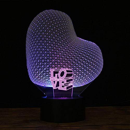 Corazón de carga ligera Te amo con luz nocturna Lámpara de mesa pequeña LED 3D Interfaz USB Luz de control remoto táctil Luz de noche colorida