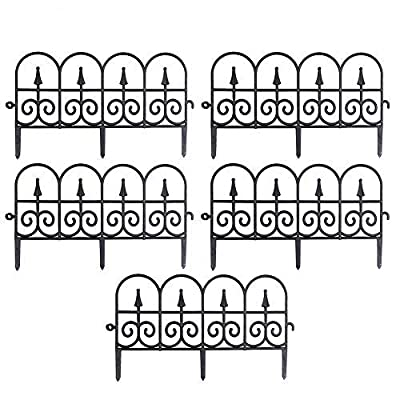 boomprospect 5PCS Decorative Garden Border Fence,Outdoor Yard Garden Plastic Border Fencing Plant Bordering Lawn Edging Fence Barrier Section Edge - Black/White