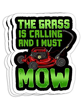 Funny Lawn Mower I Grass is Calling Gift Decorations - 4x3 Vinyl Stickers Laptop Decal Water Bottle Sticker  Set of 3