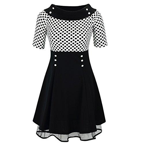 Laeticia Dreams Damen Matrosen Pin Up Petticoat Rockabilly Kleid 50er S M L XL, Farbe:Weiß/Schwarz Punkte Klein;Größe:42