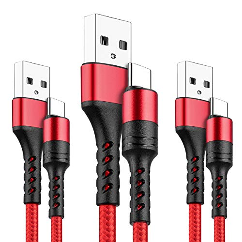 LTDNB Cavo USB C, [3 Pezzi,1M+1M+2M] Nylon Cavo USB Type-C per Samsung Galaxy S10 /S9+ /S9 /S8 /S8+,Note 9/8,Huawei P30/ P20 /Mate20 /P10 /P9,OnePlus-Rosso