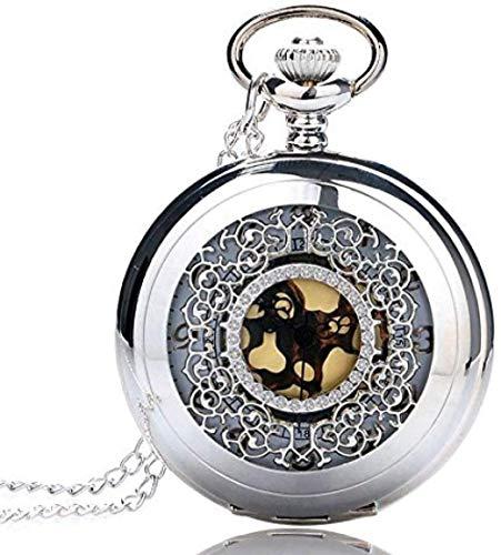 NONGYEYH co.,ltd Reloj de Bolsillo de Cuarzo con número Dorado en Tono Plateado Antiguo, Colgante, Regalo para Hombres y Mujeres
