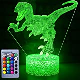3D Dinosaur Night Light for Kids Bedroom,Touch Sensor Night Lamp with Remote,USB Rechargeable 7 Color LED Dinosaur Bedside Lamp,Dinosaur Toys for Boys Girls Desk Decor Birthday Gifts