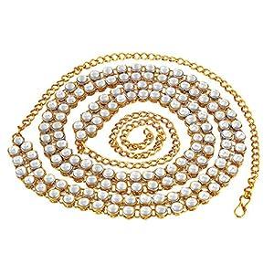 MEENAZ Stylish Traditional Jewellery Gold Kundan Wedding Saree Waist Belly Chain/Kamarbandh Kamarband for Women Girls Wedding -Belt-M02