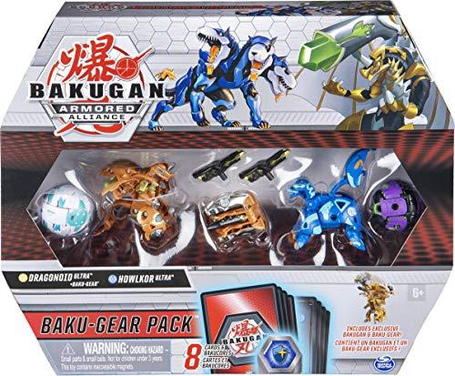 Bakugan 6059464 Baku-Gear Pack mit 4 Armored Alliance Bakugan (Ultra Aurelus Dragonoid, Ultra Aquos Howlkor, Basic Haos Pegatrix, Basic Darkus Hydorous) und 1 Set Baku-Gear