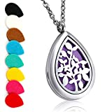 Aromatherapy Essential Oil Diffuser Necklace Locket Pendant with Stainless Steel 24' Adjustable Chain Teardrop Locket Pendant