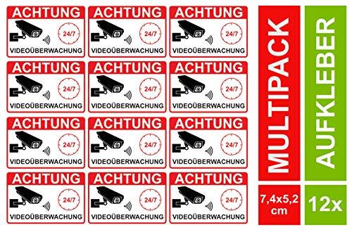 12 Video Aufkleber Videoüberwachung klein Videoüberwacht Sticker Alarmgesichert Wetterfest Hinweis auf Kameraüberwachung