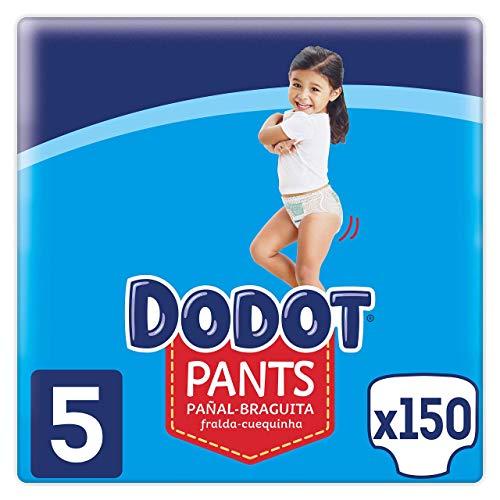 Dodot Pañales Bebé Pants Talla 5 (12-17 kg), 150 Pañales, Pañal-Braguita con Ajuste 360° Anti-Fugas