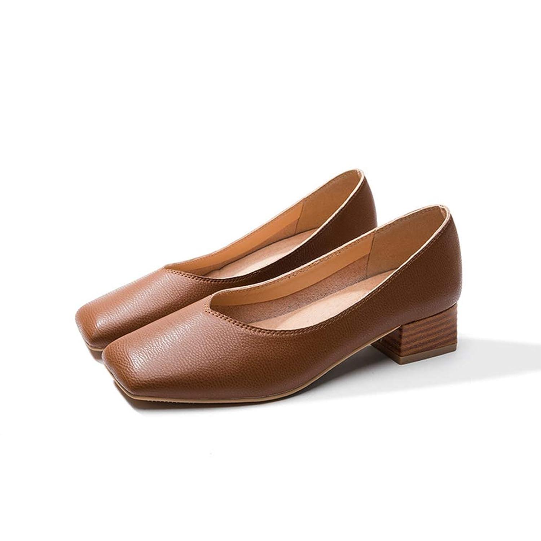 スクエアトゥ パンプス 痛くない ローヒール ぺたんこ 柔らか チャンキーヒール 脱げない 履きやすい 春 夏 冬 レディース フラットシューズ 可愛い おしゃれ ブラウン ベージュ 靴 軽量 きれいめ シューズ 22.5cm