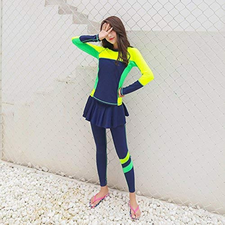 ZHRUI Split-Badeanzug Big Yards Langarm mit Rock Fashion Sexy Students, Gelb, XL (Farbe   Wie Gezeigt, Größe   Einheitsgröße) B07MPQS6J2  Ausgewählte Materialien