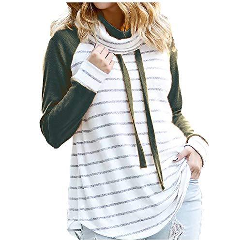 Camiseta de Manga Larga Mujer, 2021 Casual Color sólido Moda Camiseta Diario Fiesta Camiseta Cremallera Blusas básica Suéter Camisas Sudadera con Capucha Tops Jersey tee